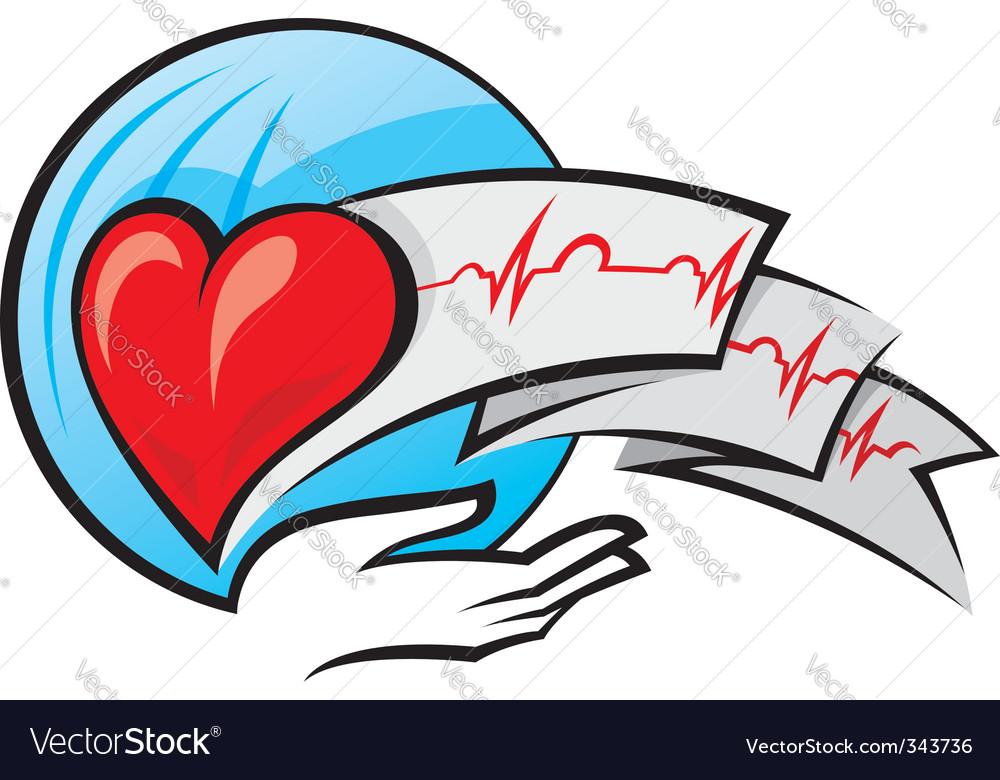Heart and electrocardiogram vector