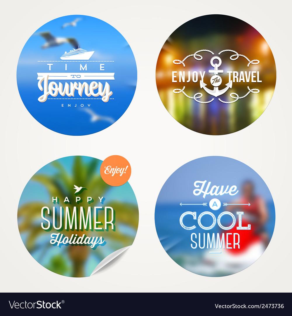 Summer holidays travel and vacation set vector
