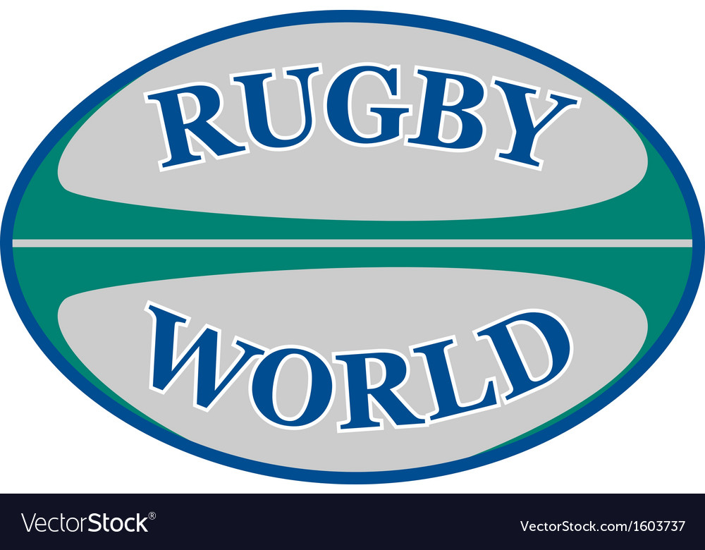 Rugby ball with words rugby world vector