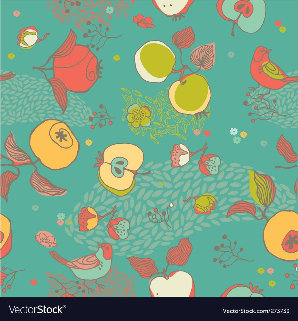 Fruit pattern with bird vector