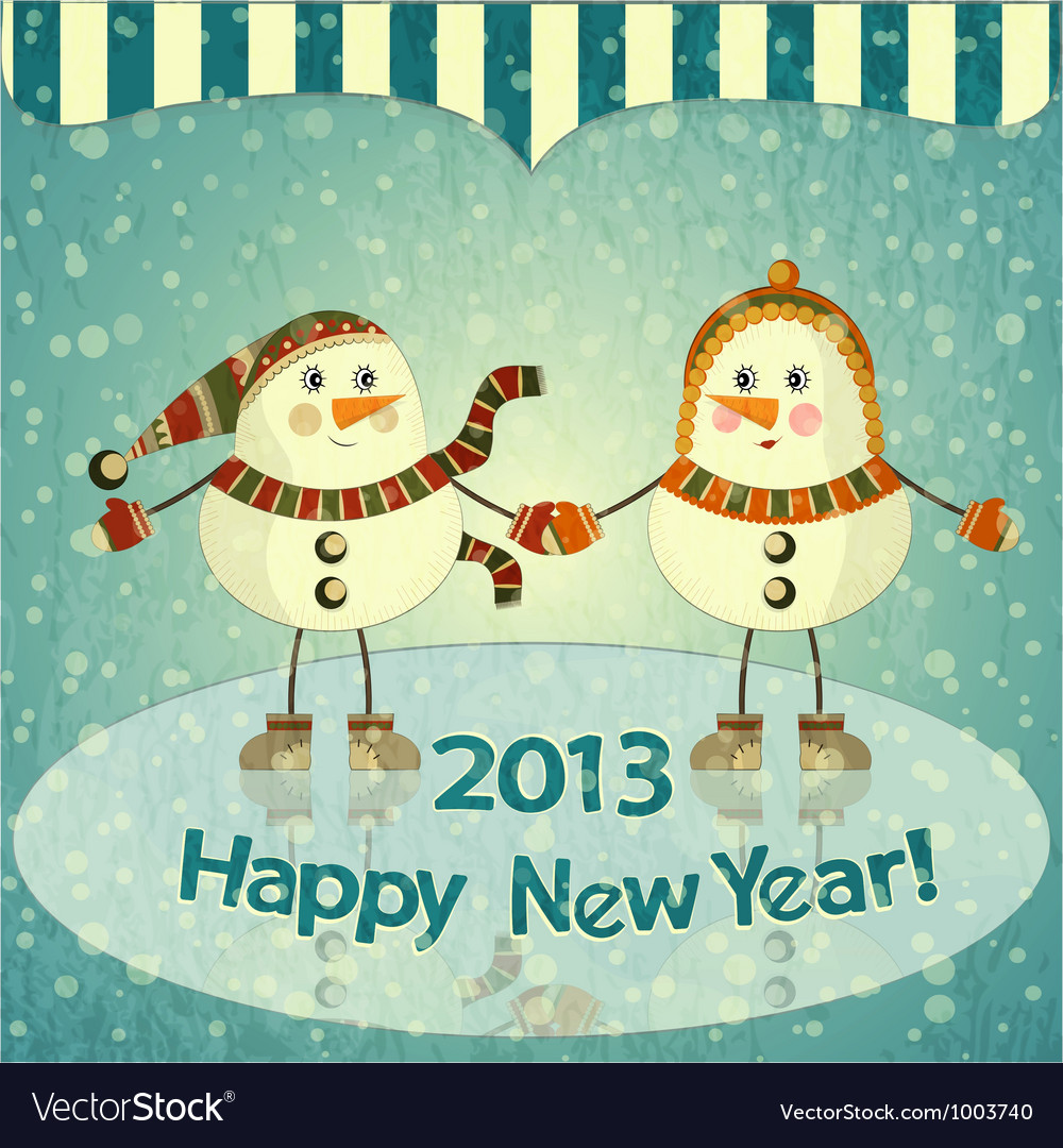 Christmas card - two snowmen on ice vector