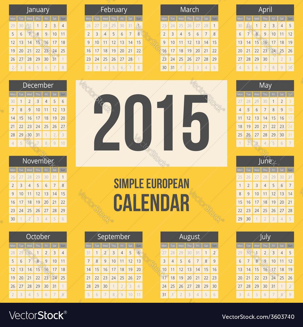 European 2015 year calendar vector
