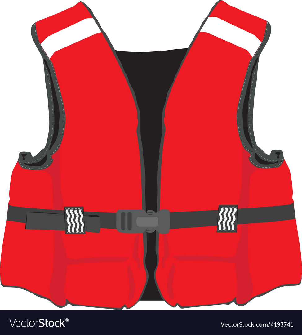 Red life jacket vector