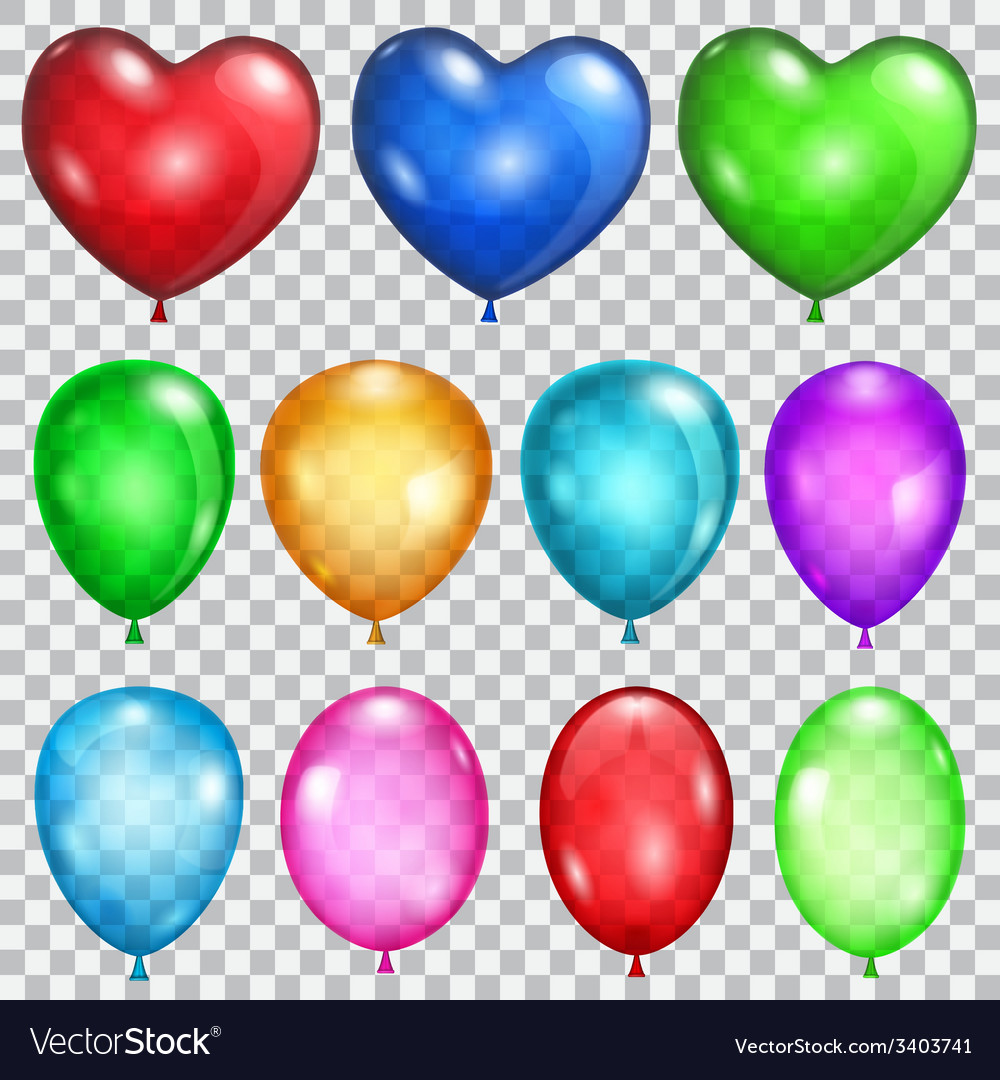 Set of transparent balloons vector
