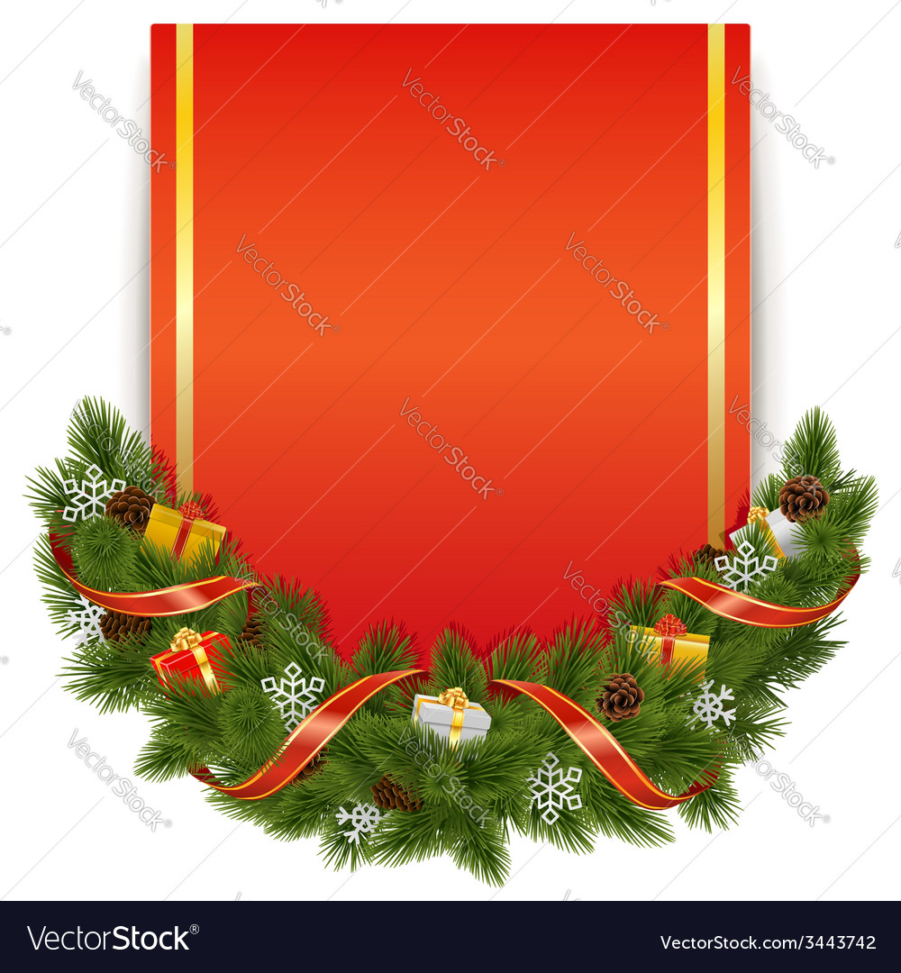 Christmas decoration with postcard vector
