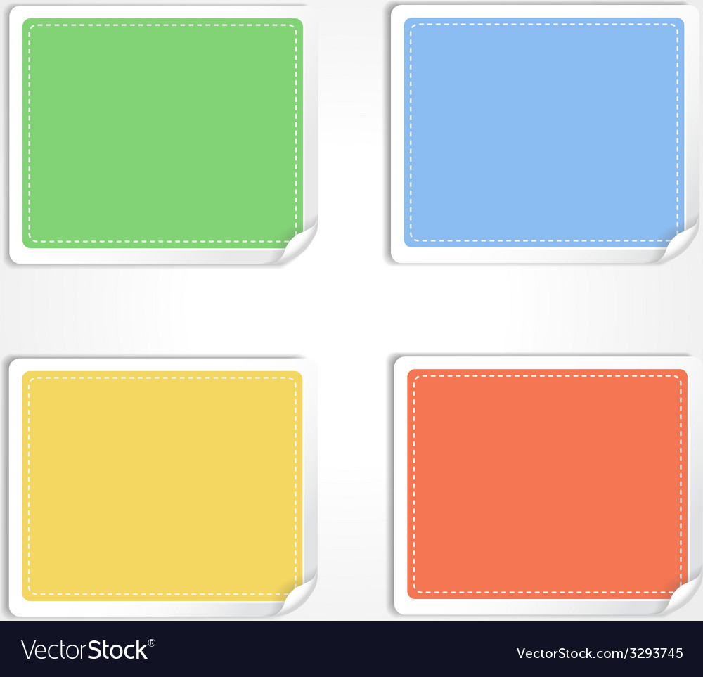 Stickers with curled edge isolated on white vector