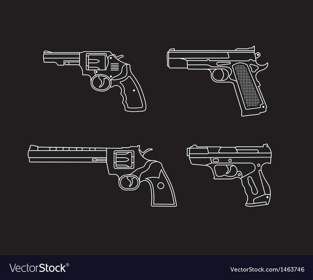 Pistols and revolvers vector