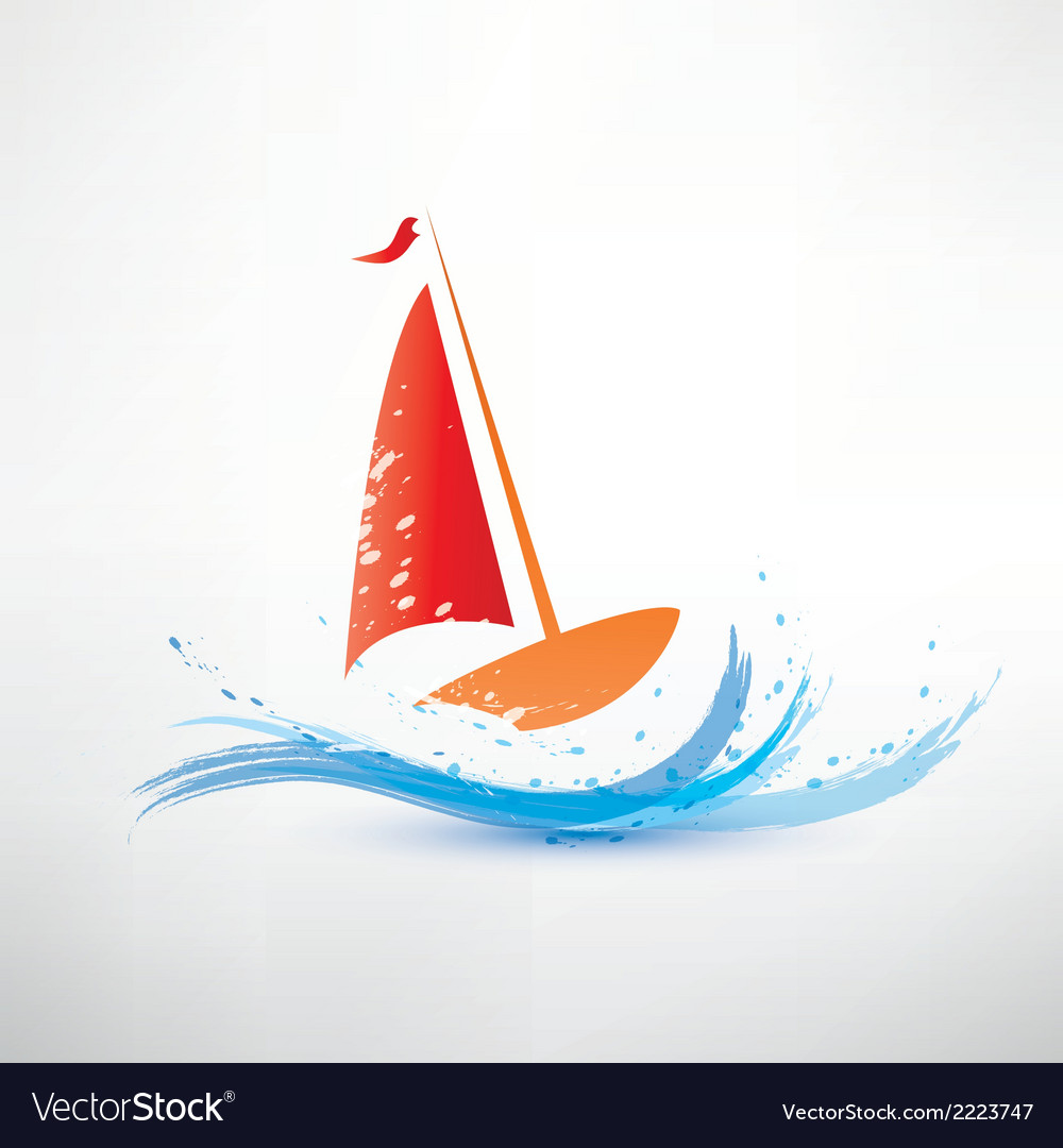 Yacht and ocean wave symbol vector