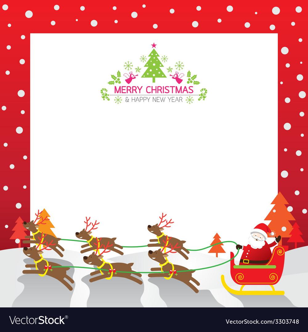 Christmas santa reindeer border vector