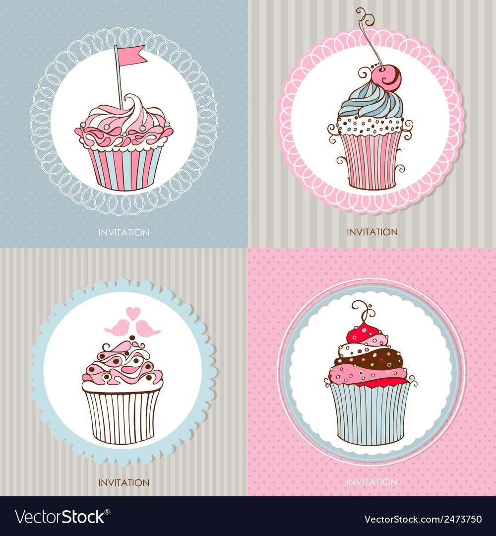 Decorative hand drawn sweet cupcakes vector