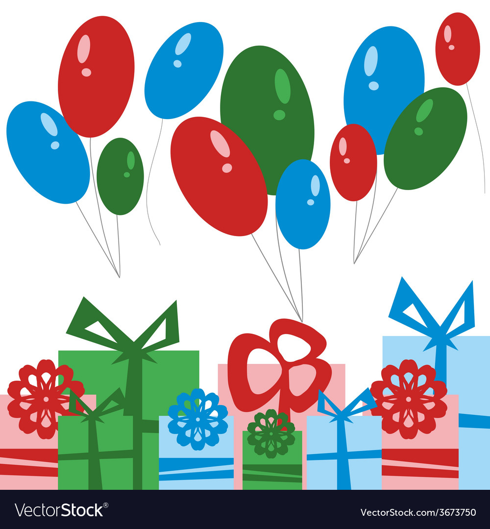 Party card gift boxes and balloons vector