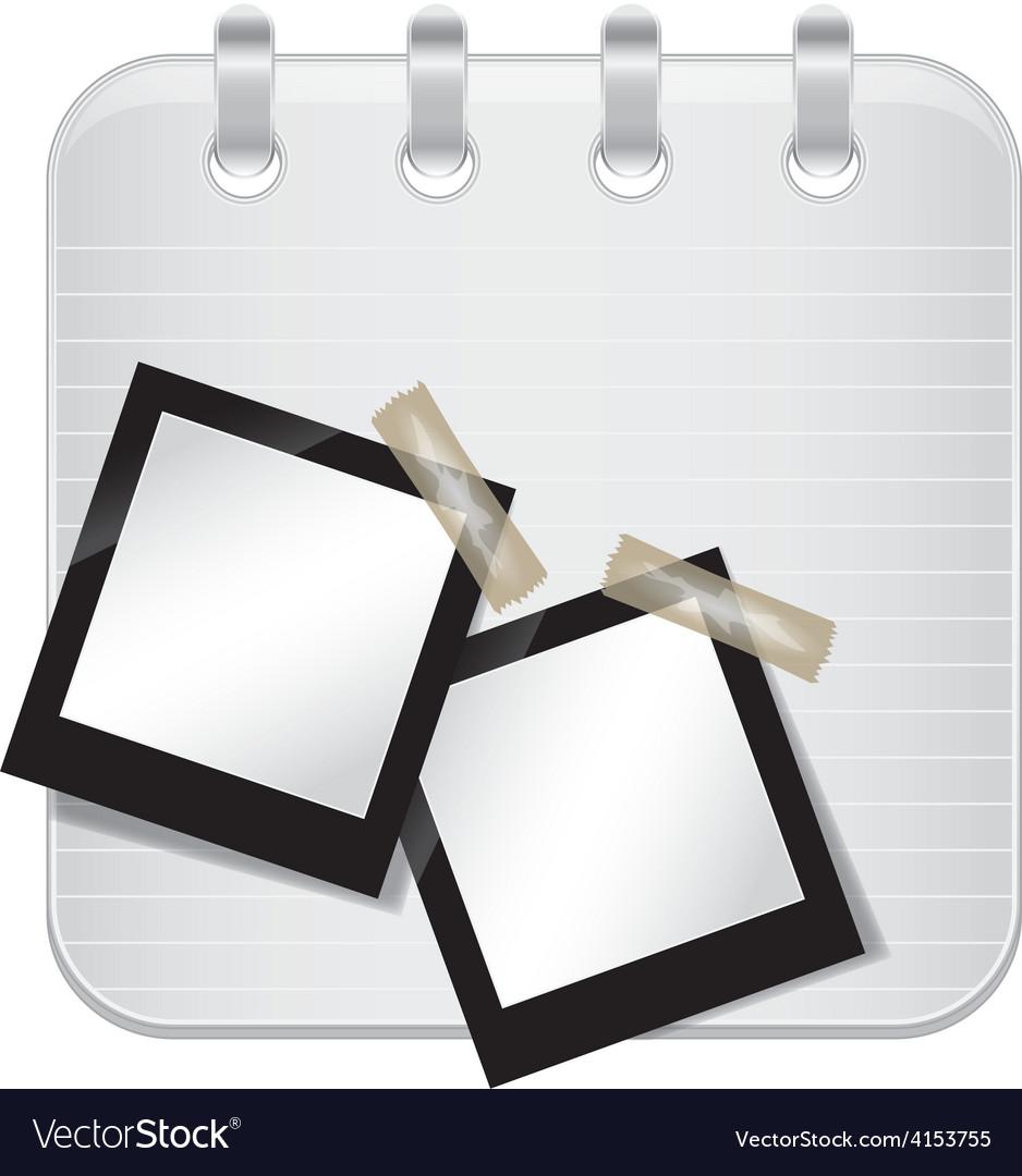 Note book with blank polaroid photos vector