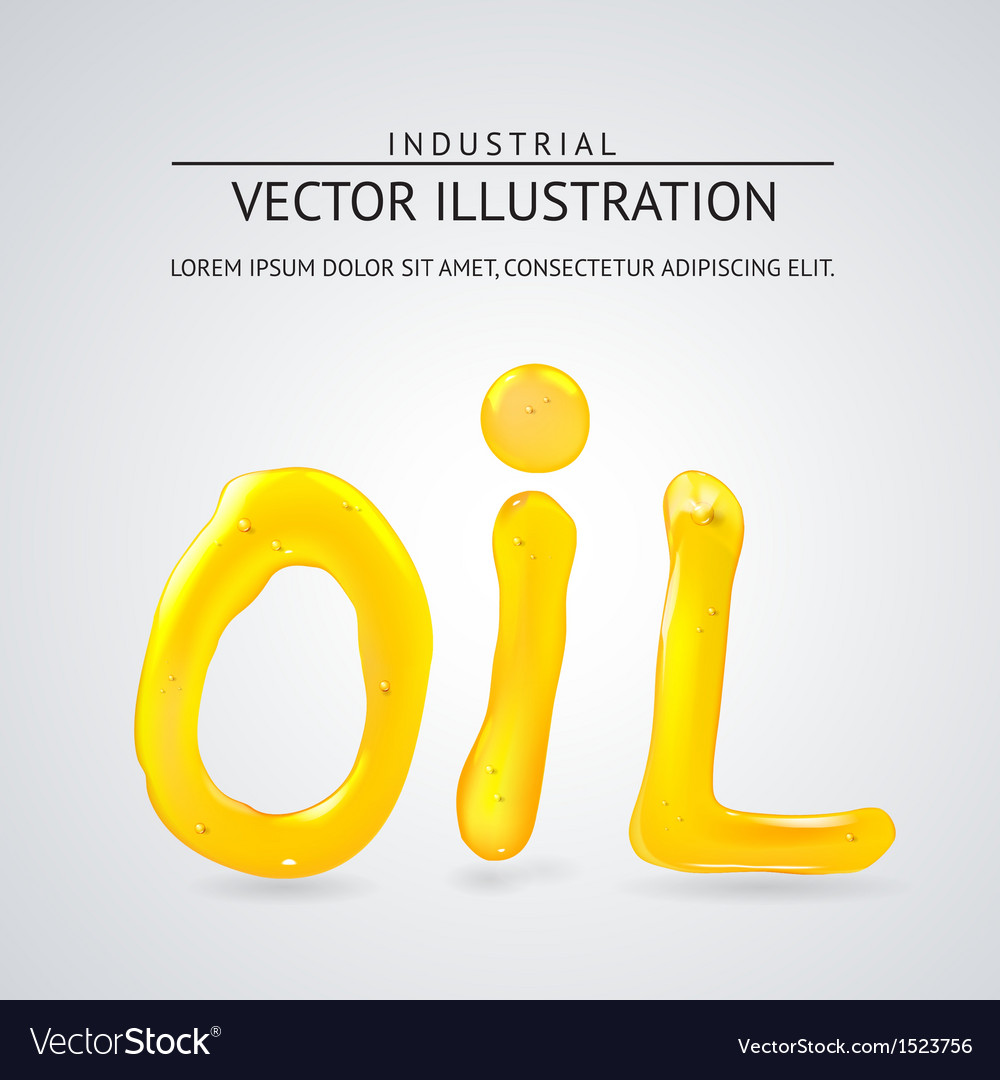 Oil liquid text on a white background vector