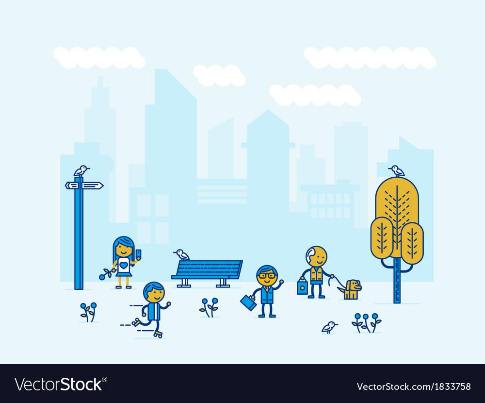 People of big city vector