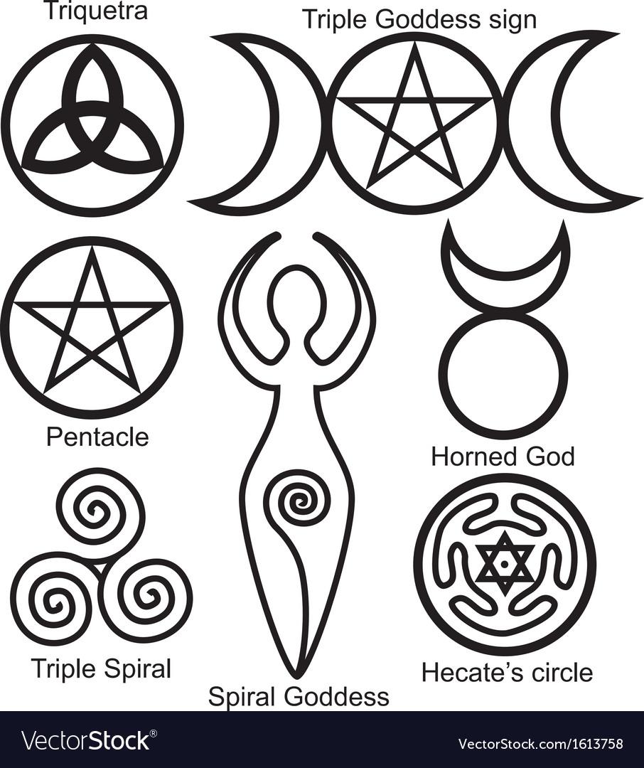 Wiccan symbols set vector