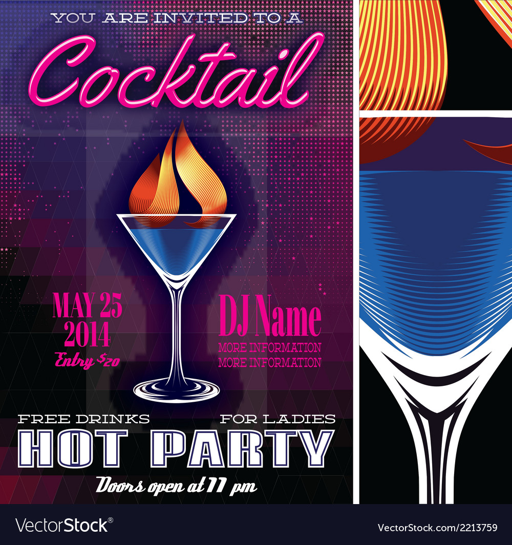 Poster template for the cocktail party vector