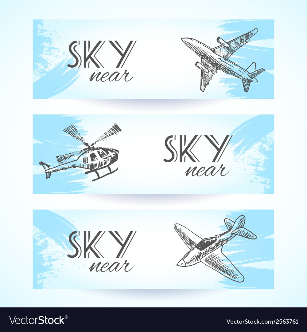 Aircraft icons banners sketch vector