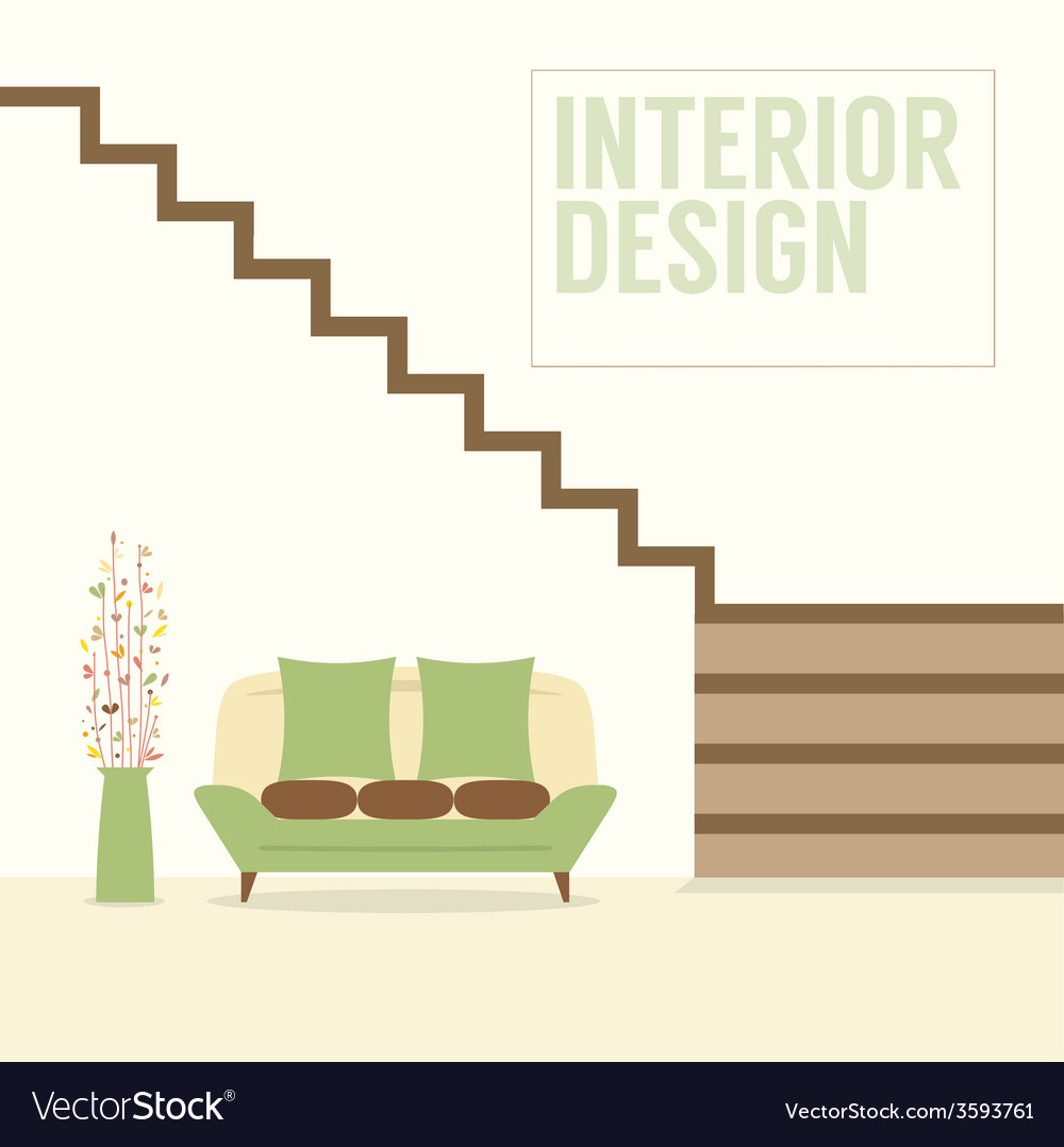 Interior design stairs with sofa vector