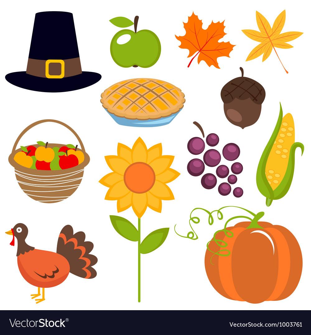 Thanksgiving set vector