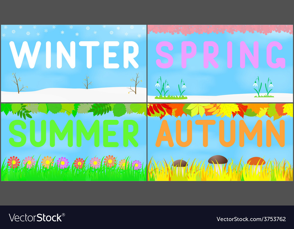 Set scenery seasons vector
