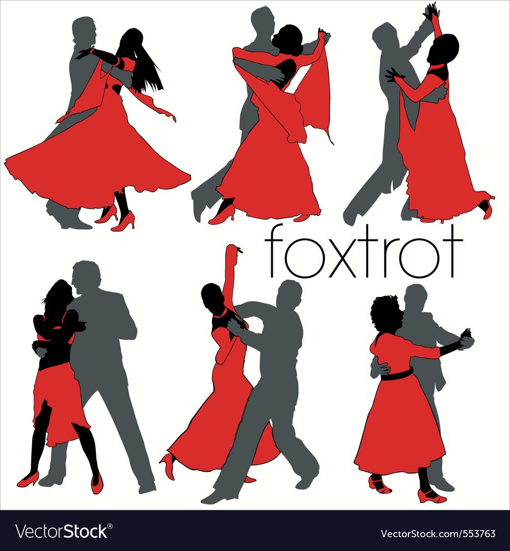 Foxtrot dancers silhouettes set vector
