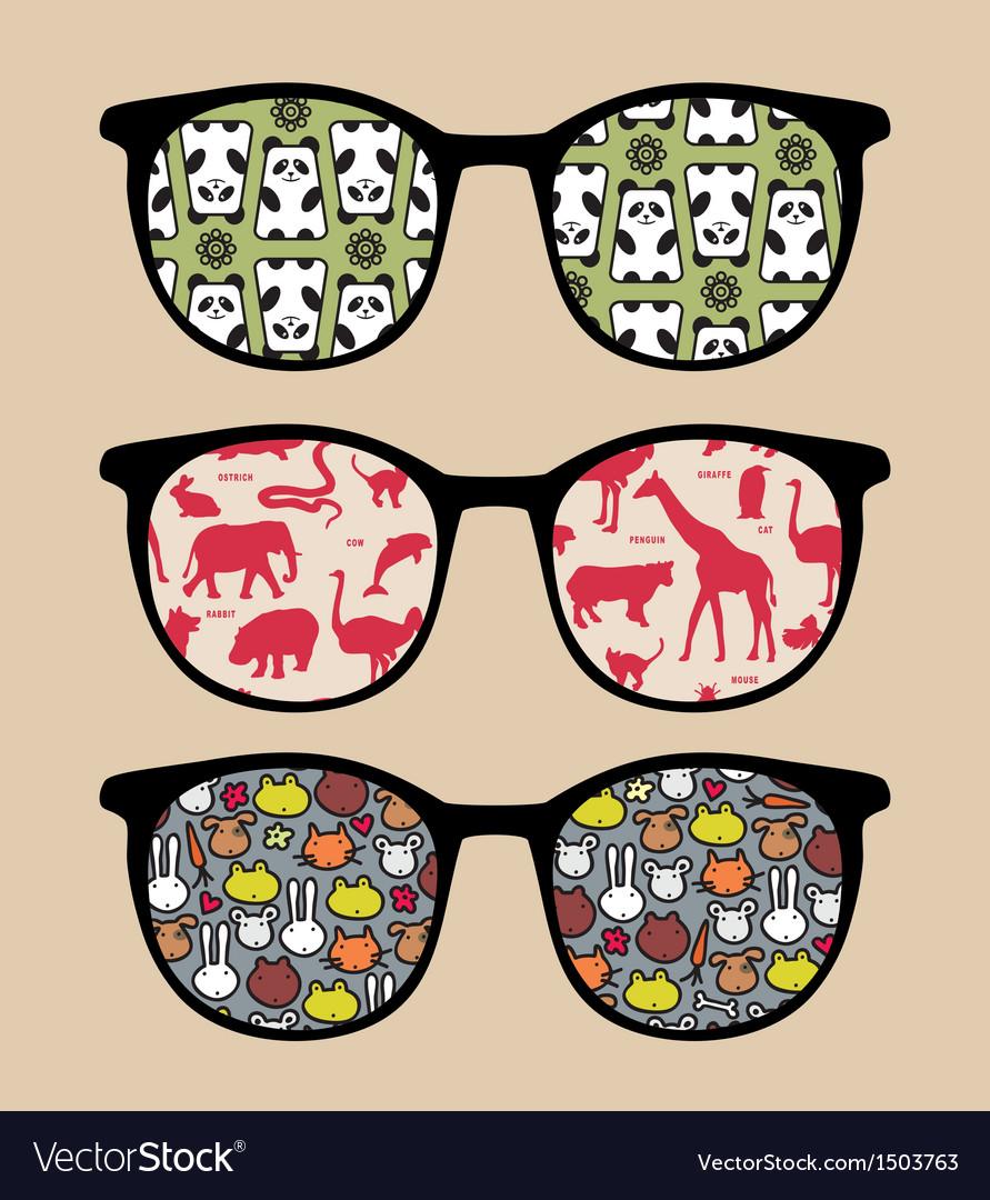 Retro sunglasses with reflection vector