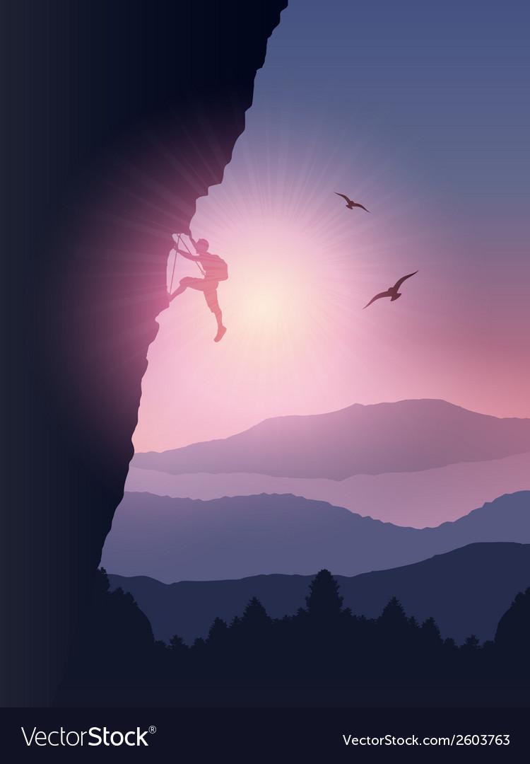 Rock climber background vector