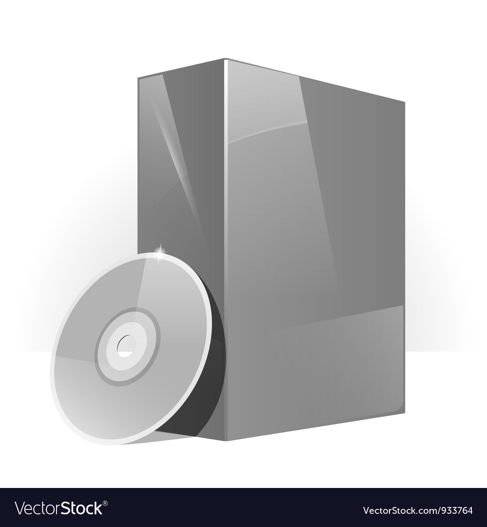 Gray glossy package box vector