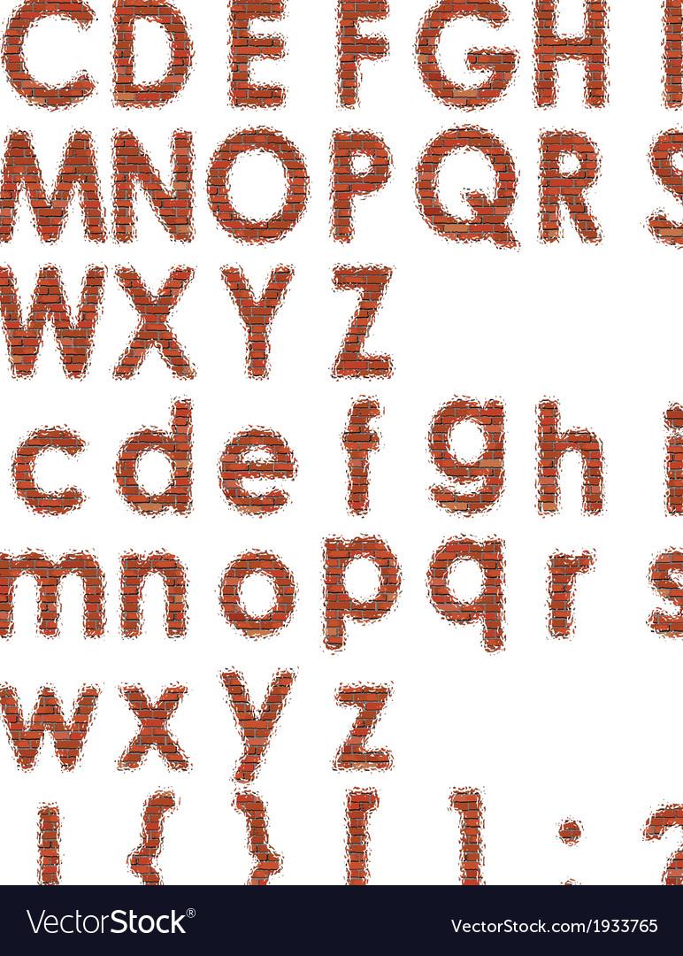 Font of bricks vector