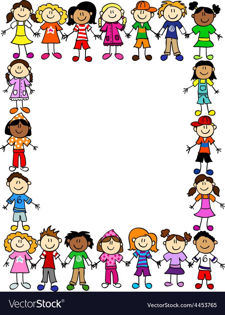 Seamless kids friendship pattern 2 vector
