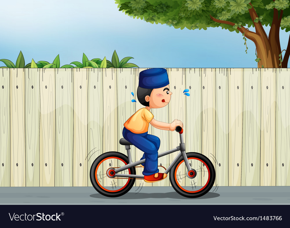 A tired boy biking vector