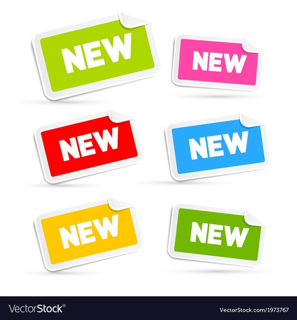 Colorful stickers with new title isolated on white vector