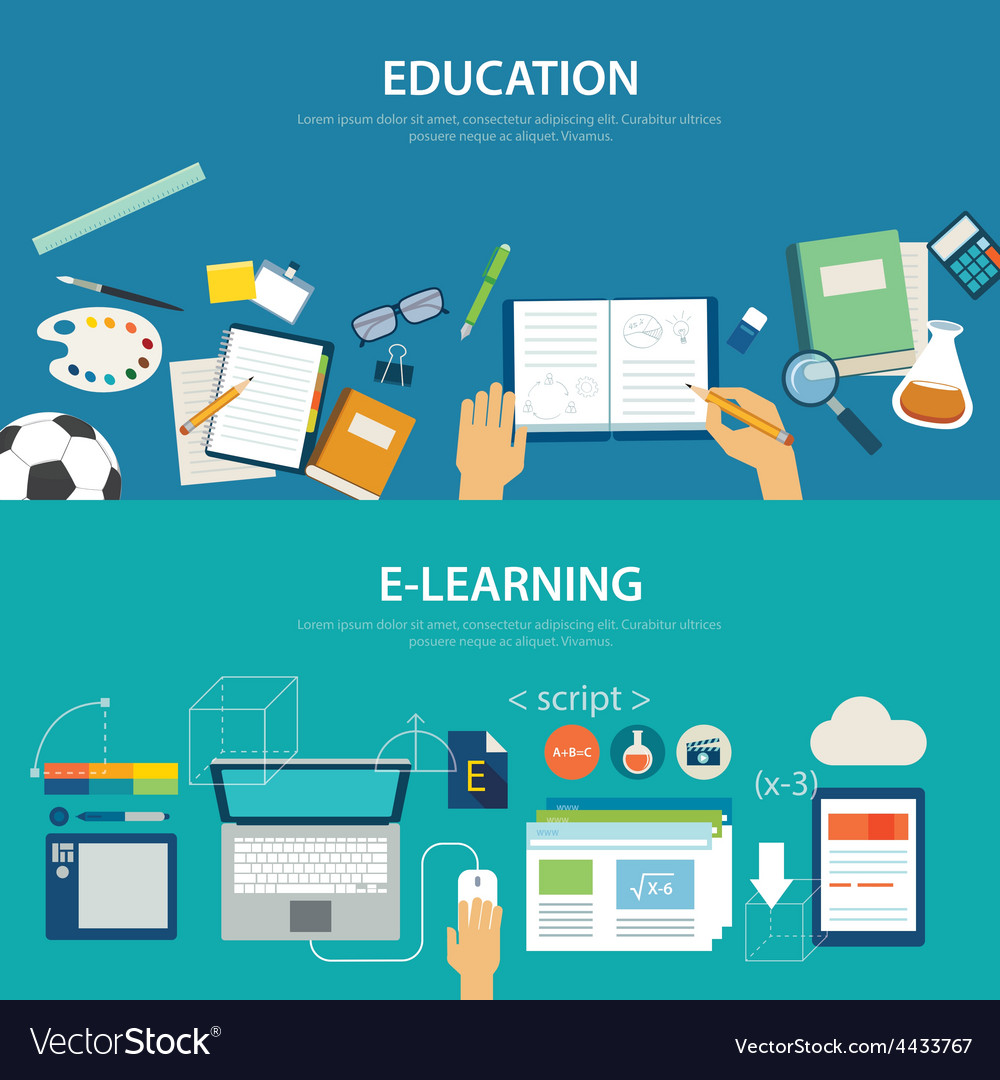 Concepts of education and e-learning flat design vector