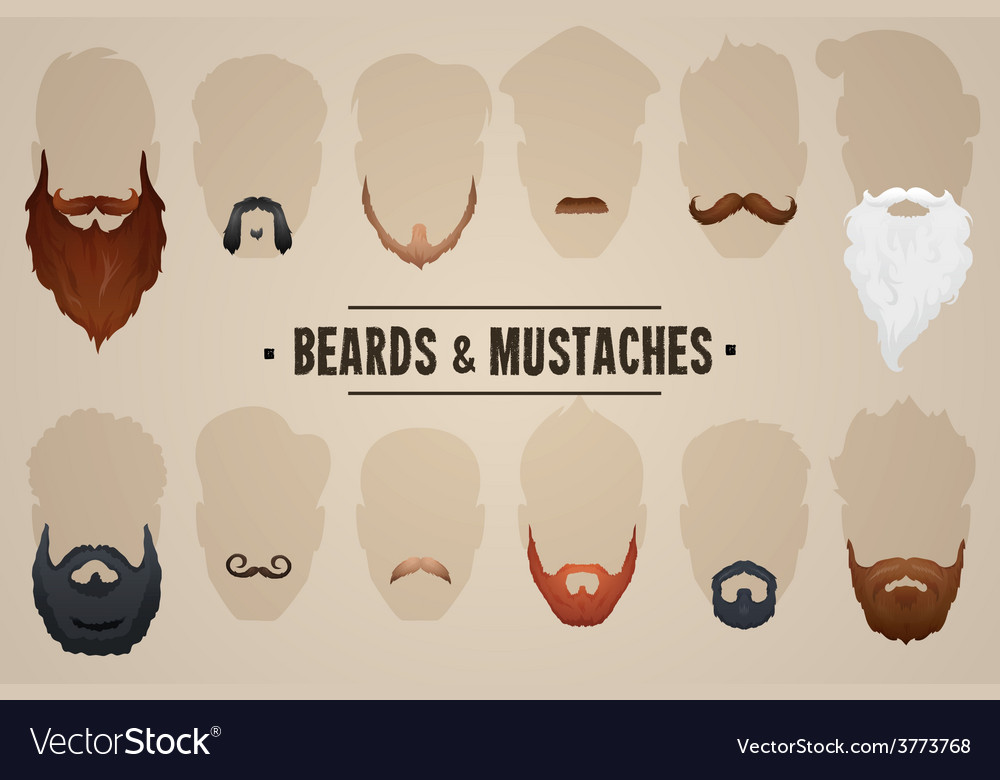 Beards and mustaches vector