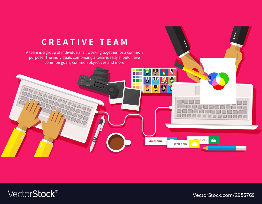 Creative team young design team working at desk vector