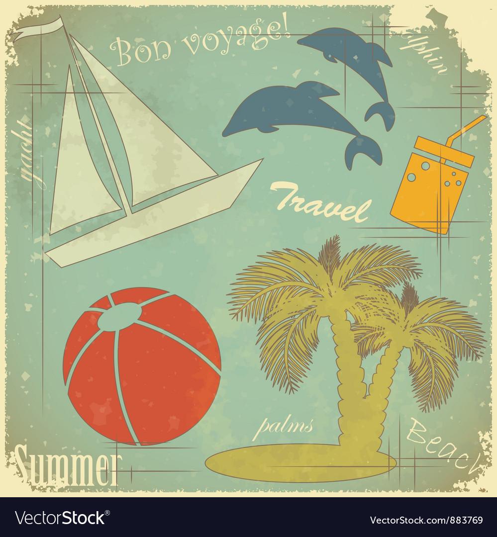 Travel retro postcard vector