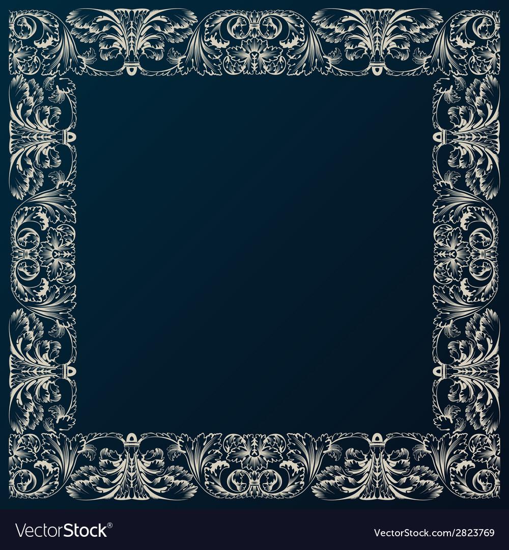Vintage border frame decor baroque design with vector