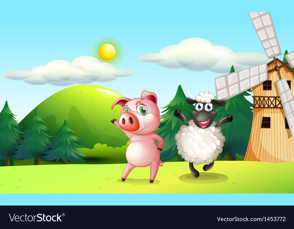 Farm animals dancing near the windmill vector