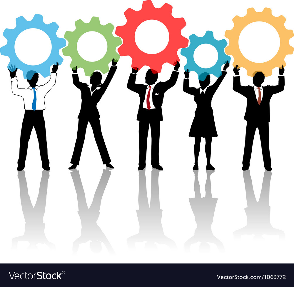 People team up technology solution gears vector
