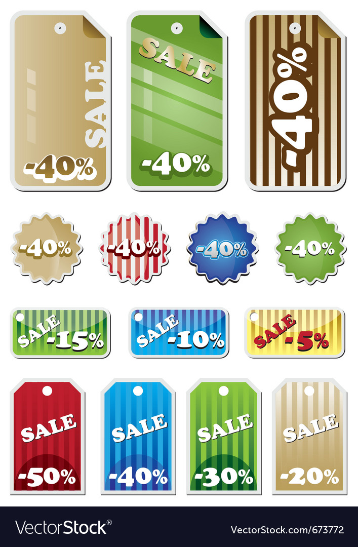 Promotion shopping marks and labels vector