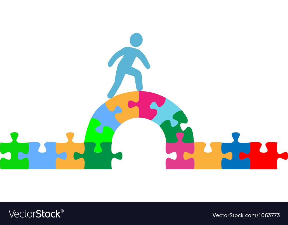 Person walking over puzzle bridge solution vector