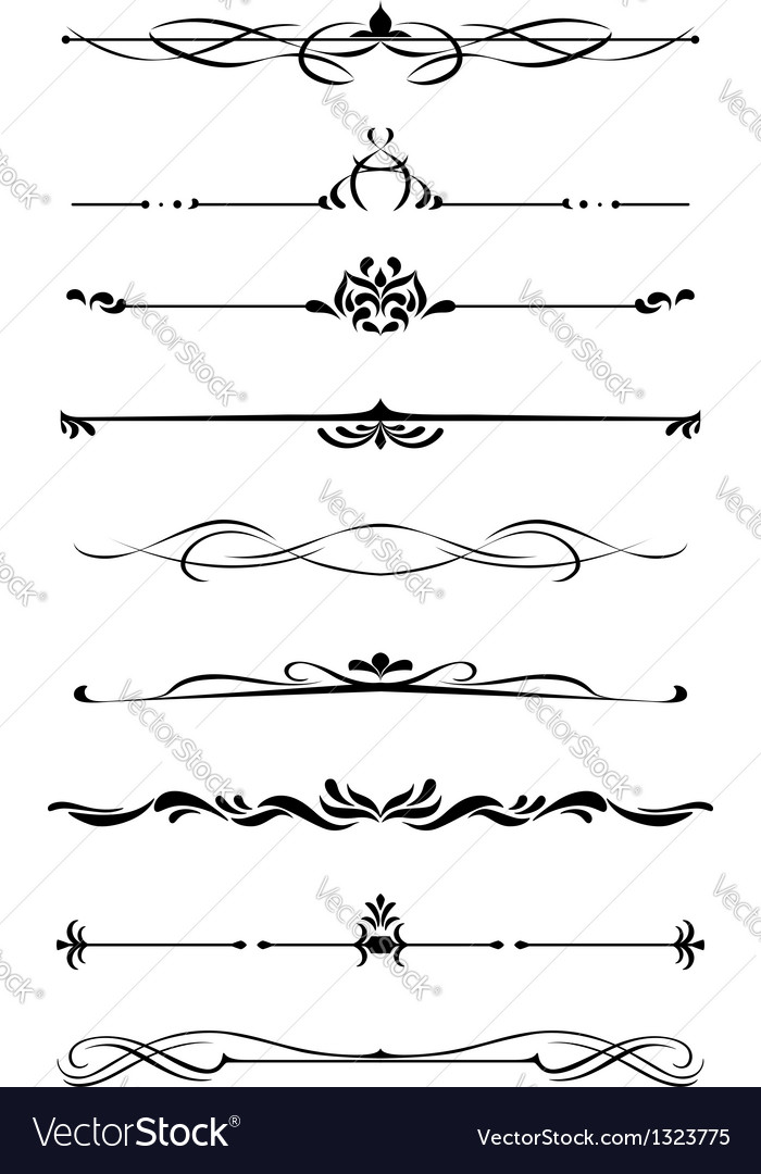 Dividers and borders set vector
