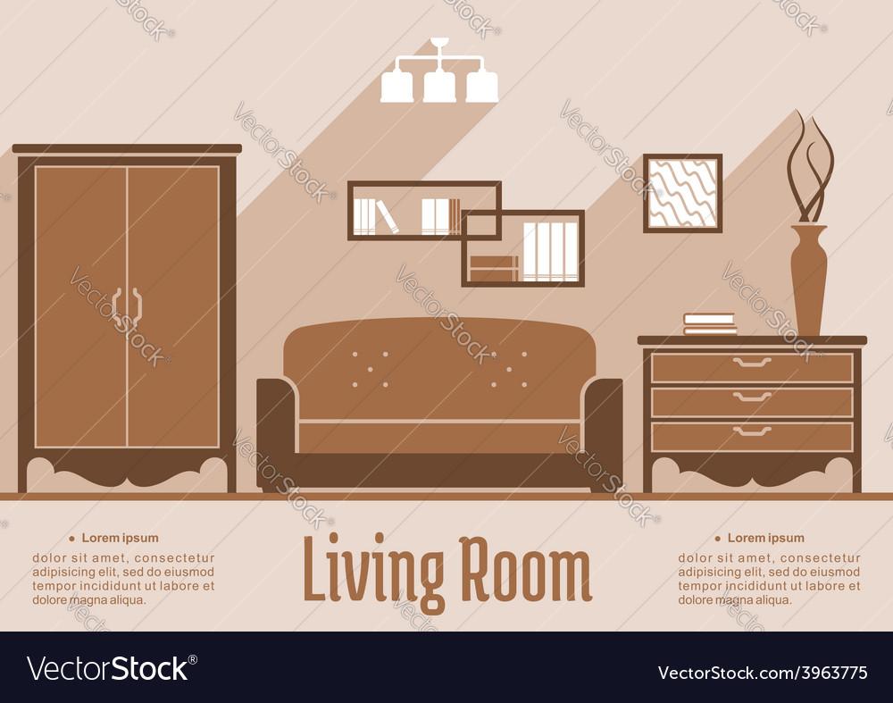 Living room interior flat design vector
