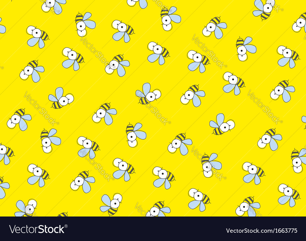 Yellow background with bees vector