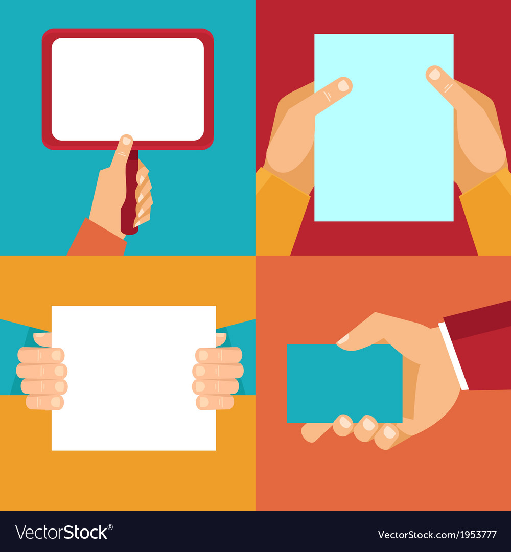 Set of hands holding blank documents and signs vector