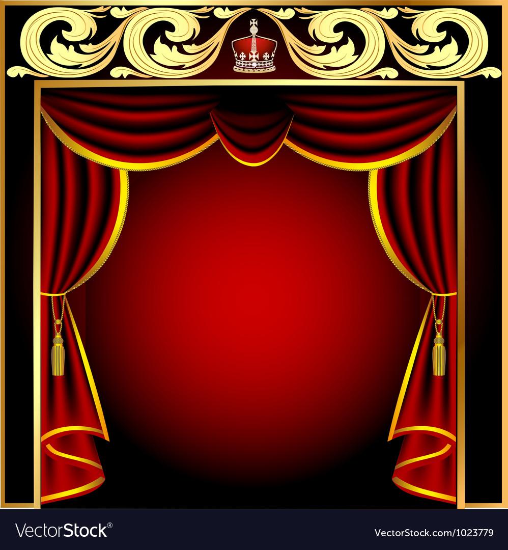 Vintage theater curtain vector