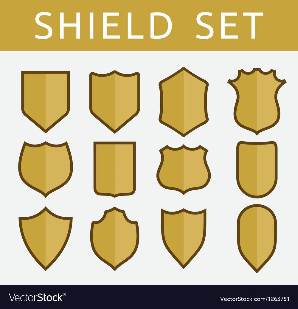 Gold shield set vector