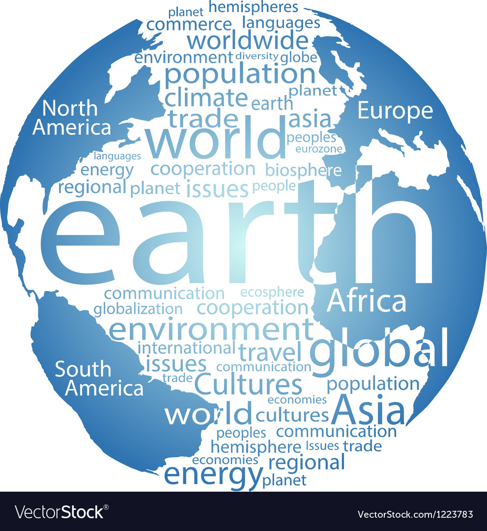 Global earth world word cloud tags vector