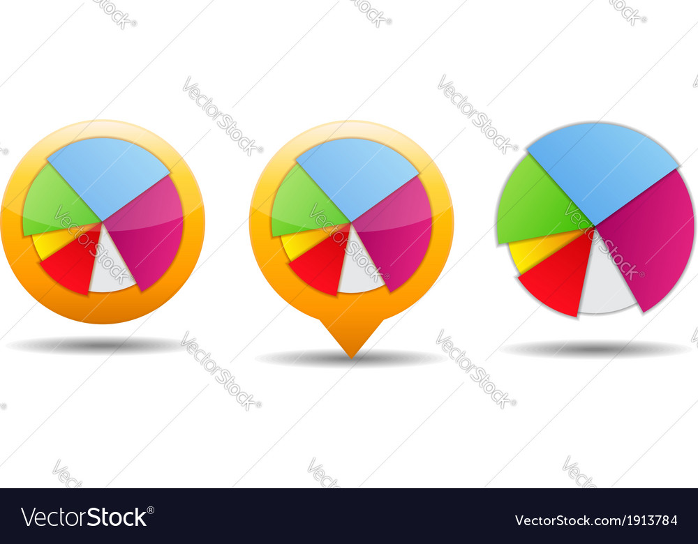 Pie chart icons vector