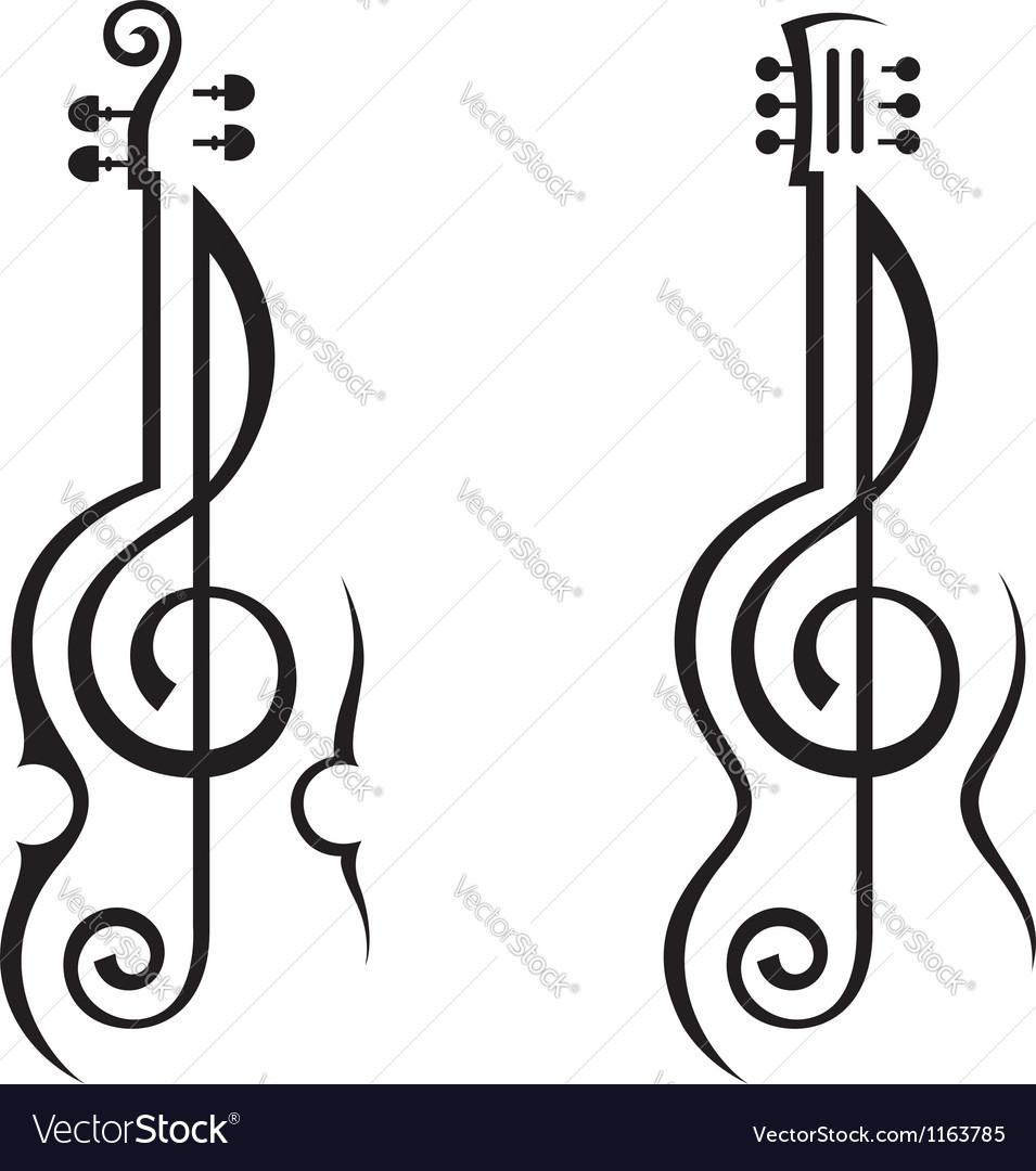 Violin guitar and treble clef vector
